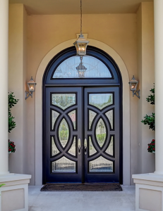 Custom Front Door Design- Wood and Impact Glass