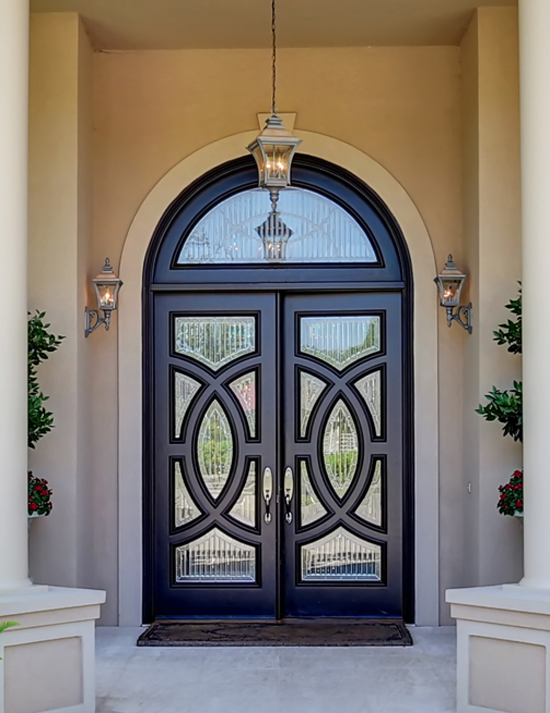 Custom Front Door Design-Decorative Rod Iron and Glass